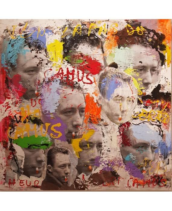 Peinture contemporaine, tableau moderne figuratif, pop art, acrylique et collage sur toile 100x100cm intitulée: Camus