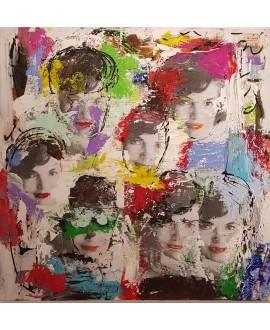 Peinture contemporaine, tableau moderne figuratif, pop art, acrylique et collage sur toile 100x100cm intitulée: Jackie Kennedy 2