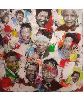 Peinture contemporaine, tableau moderne figuratif, pop art, acrylique et collage sur toile 100x100cm intitulée: Mandela 2