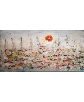 Peinture contemporaine, tableau moderne figuratif, paysage, acrylique et collage sur toile 100x50cm: sur la mer 1.
