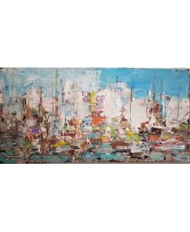 Peinture contemporaine, tableau moderne figuratif, paysage, acrylique et collage sur toile 100x50cm: sur la mer 2.