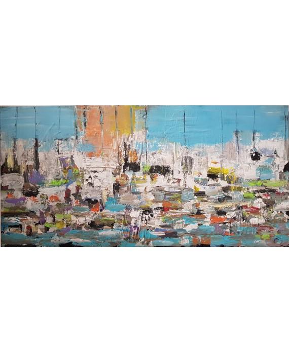 Peinture contemporaine, paysage, tableau moderne figuratif, acrylique et collage sur toile 100x50cm intitulée: sur la mer 3.