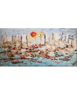 Peinture contemporaine, paysage, tableau moderne figuratif, acrylique et collage sur toile 100x50cm intitulée: sur la mer 4.