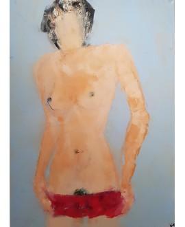 Peinture contemporaine, tableau moderne figuratif de nu , acrylique sur toile 100x73cm intitulée: femme nue.