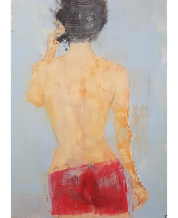 Peinture contemporaine, tableau moderne figuratif de nu , acrylique sur toile 100x73cm intitulée: femme au dos nu.