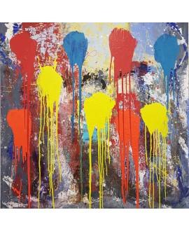 Peinture contemporaine, tableau moderne abstrait, acrylique sur toile 100x100cm intitulée: ballons de couleur.