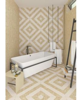 Carrelage effet bois aggloméré strié blanc mat, décor, sol et mur, 59.3x59.3cm rectifié, R10, V strand nenets naturel blanc