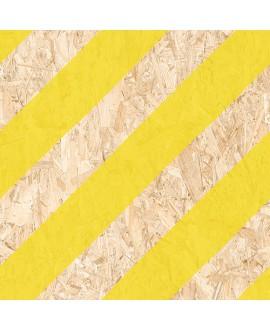 Carrelage effet bois aggloméré mat avec des bandes jaunes, décor, 59.3x59.3cm rectifié, R10, V strand nenets naturel jaune