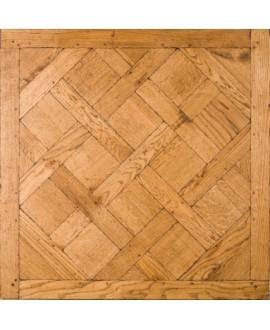 Plancher versailles chêne massif français vielli ancien, vieilli doré antique, ép : 21 mm , 98cmx98cm