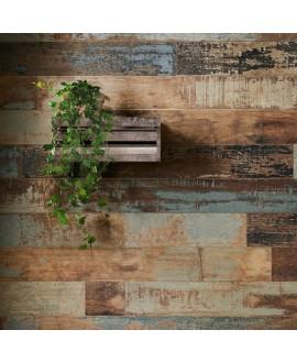 Carrelage imitation plancher en bois peint usé dénuancé gris, marron, bleu, beige15x120cm rectifié, sol et mur, santacolor navy