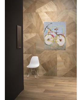 Carrelage imitation opus de bois tranché décoré foncé, sol et mur 90x90cm rectifié, santapwood mix