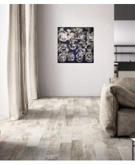 Carrelage imitation vieux parquet, 15x120cm, rectifié, Santacolor light et peinture contemporaine acrylique sur toile 100x100cm: